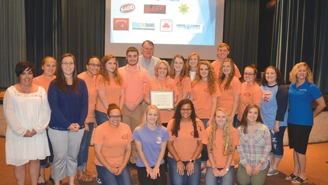 Gibson County High School receives an award for promoting safe driving.