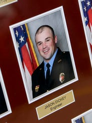 A picture of Lawrenceburg fireman Jason Dickey who
