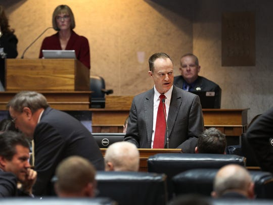 Sen. Mark Messmer delivers remarks on a bill during the last day of the 2018 legislative session. Messmer carried House Bill 1470 in the Senate in 2019.
