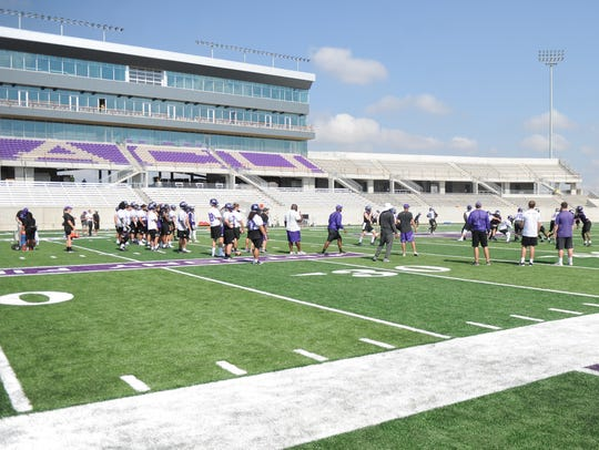 ACU works out at its new on-campus football stadium
