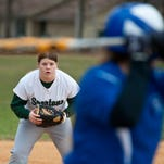 Winooski's Sarah Lind waits for a Vergennes batter to swing during a gamein Winooski on Friday .