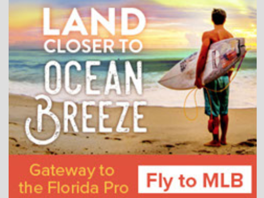 This Space Coast Office of Tourism promotional ad encourages beach-going tourists to fly into Orlando Melbourne International Airport.