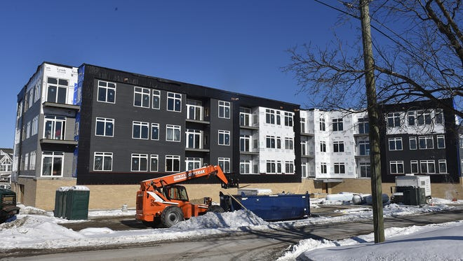 View from the west or side view of the The Bay Lofts, 49 N. Madison Ave., Sturgeon Bay. The four-story apartment building with retail front is expected to open in May.