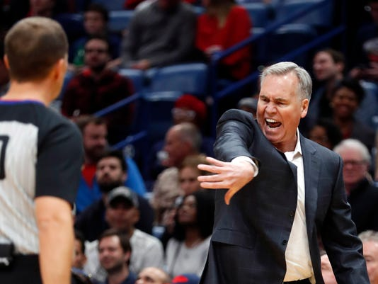 Houston Rockets coach Mike D'Antoni questions a call during the second half of the team's NBA basketball game against the New Orleans Pelicans in New Orleans, Friday, Jan. 26, 2018. The Pelicans won 115-113. (AP Photo/Gerald Herbert)