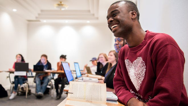 """Vanderbilt student Damonta Morgan, 21, speaks during a class on """"The Federalist Papers"""" using the musical """"Hamilton"""" at Fisk University in Nashville on April 3, 2017. The class brings together students from Vanderbilt with students from Fisk."""
