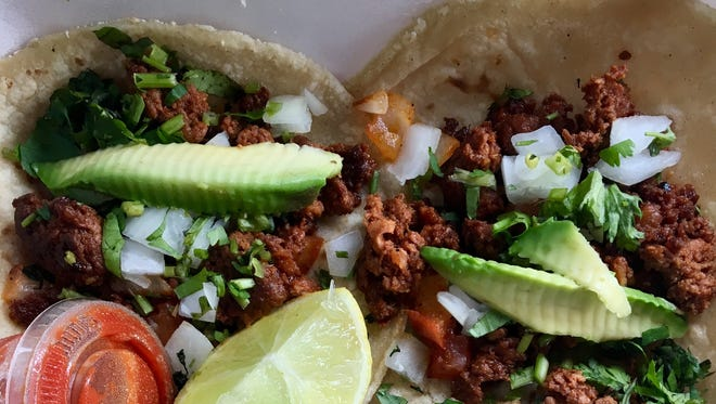 Chorizo tacos and pork tacos from Taqueria La Bamba in North Fort Myers.