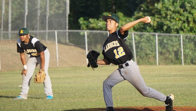 John F. Kennedy Islanders senior Peter Deleon Guerrero allowed one hit in a 9-2 complete game win against the Tiyan Titans in their IIAAG Baseball League game at Chalan Pago-Ordot field on Wednesday, Dec. 2.