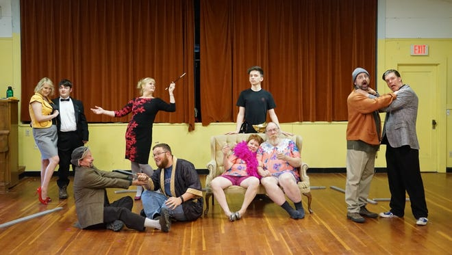 """The cast of Keizer Homegrown Theatre's """"Drop Dead!"""" poses for a melodramatic photo. The comedy about a cast of washed-up actors in a murder mystery that becomes a reality opens Thursday, May 12, at Keizer Lions Auditorium, 4100 Cherry Ave NE, Keizer."""