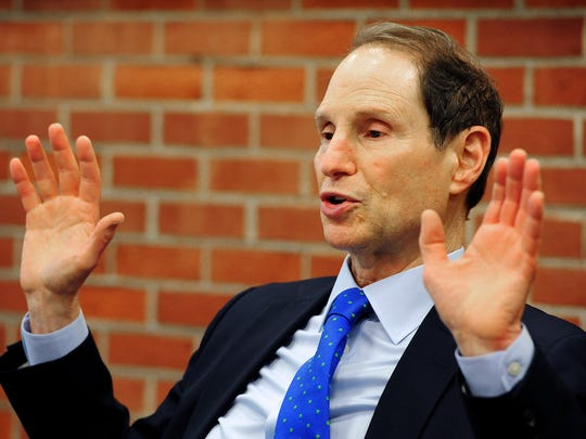 Sen. Ron Wyden answers questions, Friday, May 1, 2015, during a Statesman Journal Editorial Board meeting.