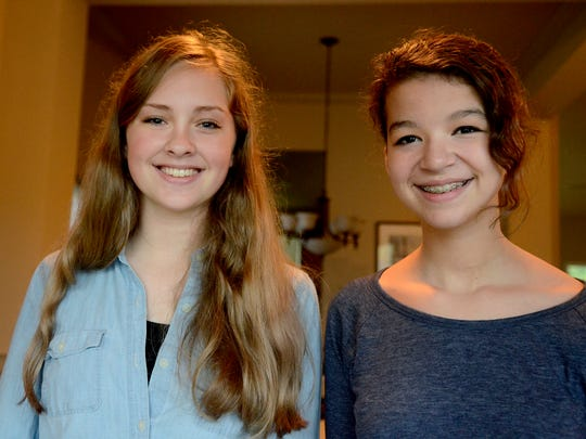 Friends Shelby Conway, left, 14, and Sarina Keightley,
