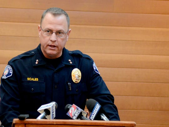 McMinnville Police Chief Matt Scales speaks at a press conference at Linfield College in McMinnville, Ore., on Sunday, Nov. 16, 2014. Parker Moore, a sophomore business management major, was fatally stabbed Saturday night at a 7-Eleven next to the campus.