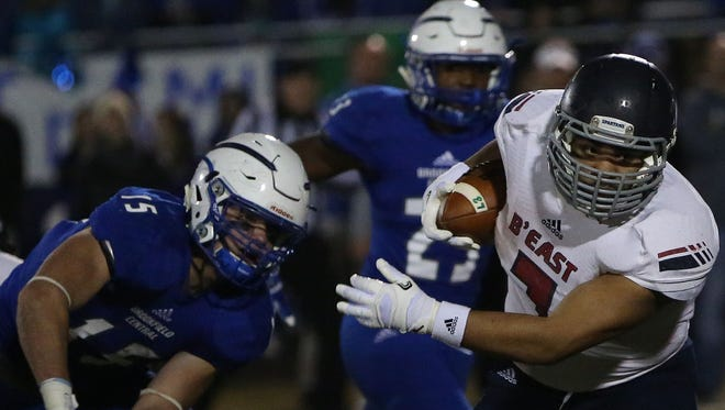 Brookfield East running back Sam Santiago-Lloyd carried the ball 26 times for 146 yards and three touchdowns on Friday night.