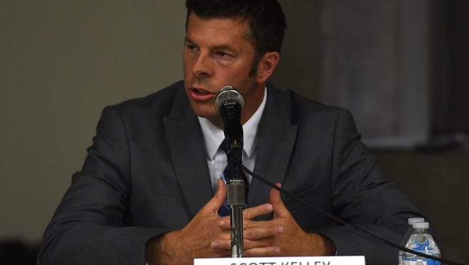 District A candidate Scott Kelley speaks during the RGJ's Washoe County School Board candidate forum in the Jot Travis Building on UNR's campus in Reno on June 8, 2016.