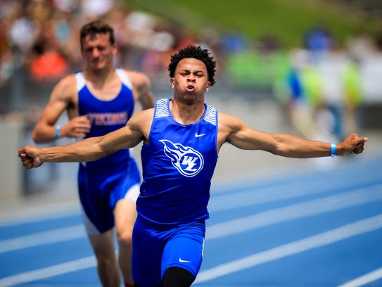 Tanner Iske of West Liberty wins the boys 2A 100 meter