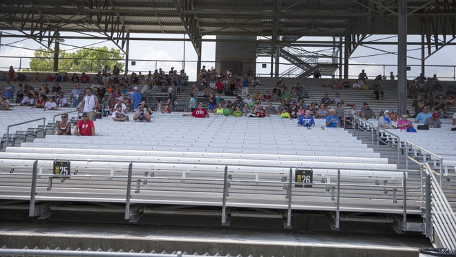 Nearly empty stands on the front stretch at the Brickyard 400, Sunday, July 24, 2016.