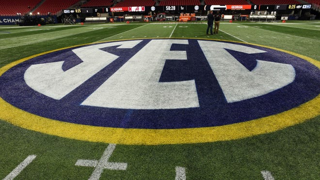 A general view of the Southeastern Conference logo prior to the league championship game between Alabama and Georgia on Dec. 1, 2018, at Mercedes-Benz Stadium in Atlanta.