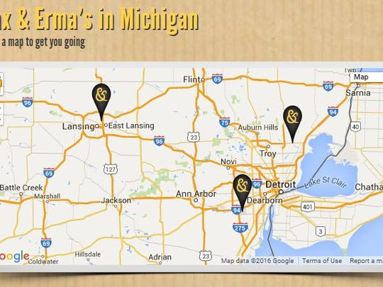 Max and Erma's website has been updated to reflect just three remaining locations in Michigan.