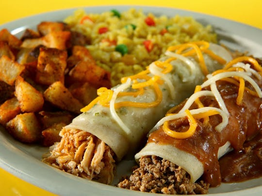 An enchilada plate at Fuzzy's Taco Shop.