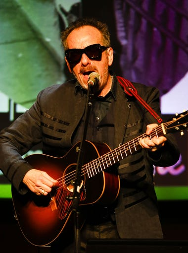 Elvis Costello performs on Friday, April 8, 2016, at Mesa Arts Center in Mesa, Ariz.