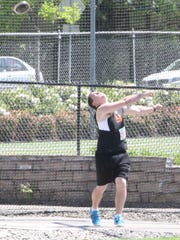 Sprague senior Austin Kleinman throws the discus at the OSAA Class 6A state track and field meet on Friday, May 19, 2017.