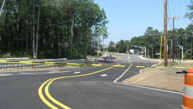 Monmouth County officials opened this new intersection to traffic at Asbury Avenue, Essex Road and Pine Street in Tinton Falls to detour traffic around a section of Asbury Avenue which be raised and a small bridge replaced to alienate flooding.