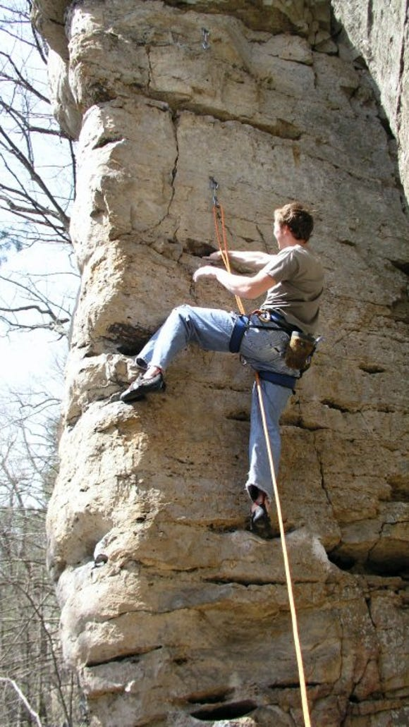 Heisey rock climbing at Franklin Gorge.