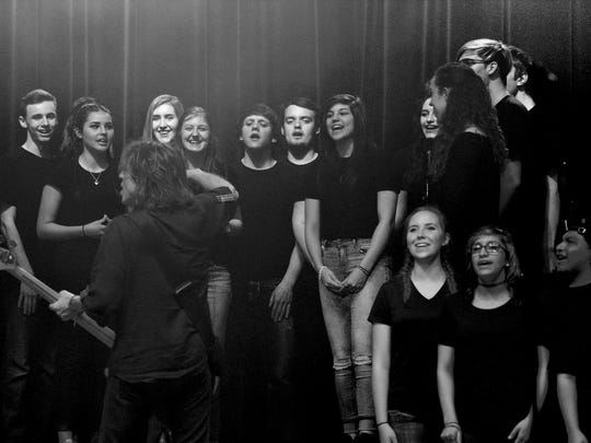 "Members of the Wichita Falls High School A Cappella Choir perform on Foreigner's hit ""I Want to Know What Love Is"" Tuesday at Memorial Auditorium."