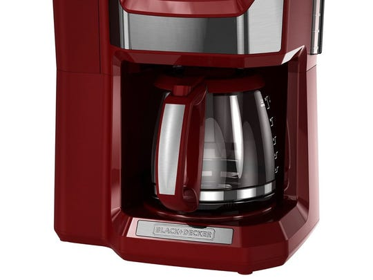 Black and Decker has the CM5000R 12-cup mill and brew coffee maker, priced at $80, in a Marsala hue.