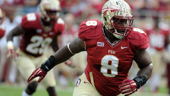 Florida State defensive tackle Timmy Jernigan (8) watches the quarterback during a play against Idaho on Nov. 23 at Doak Campbell Stadium. Jernigan was a key to FSU's No. 1-ranked 2011 recruiting class.