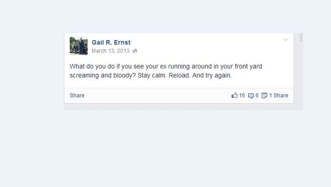 "Screen shot of the ""ex"" comment Republican Gail Ernst posted on Facebook."