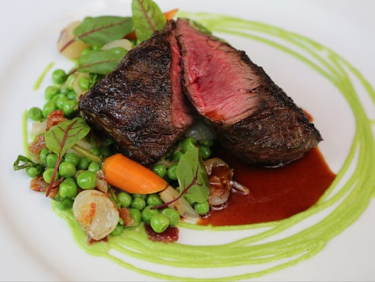 The hanger steak at Tuthill House at the Mill in Gardiner,