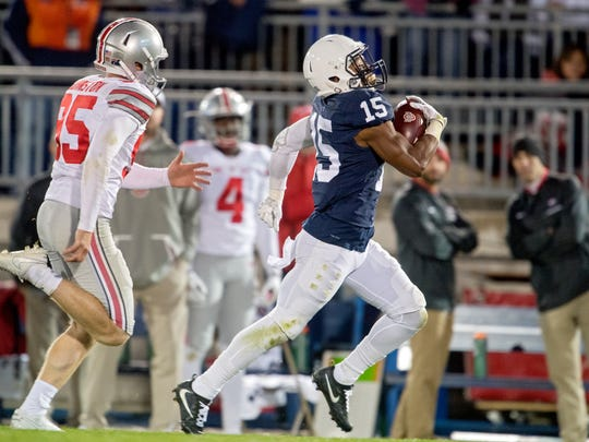 Penn State's Grant Haley returning a blocked field goal for a touchdown to defeat Ohio State in October 2016. (Centre Daily Times via AP, File)