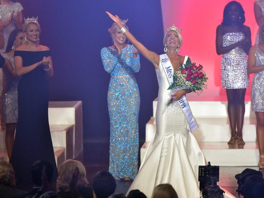 Miss Vicksburg Anne Elizabeth Buys waves after being crowned Miss Mississippi 2017 Saturday evening during the Miss Mississippi Pageant at the Vicksburg Convention Center.