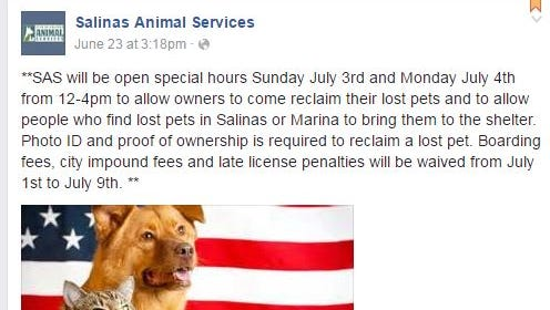 Salinas Animal Services is extending its hours on July Fourth.