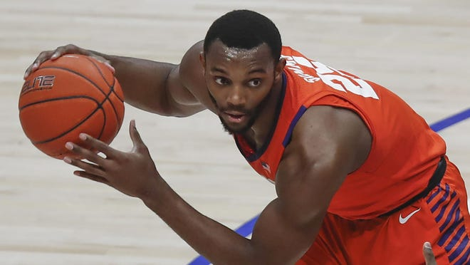 Clemson's Aamir Simms plays against Pittsburgh during the first half of a basketball game Feb. 12 in Pittsburgh.