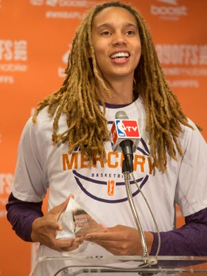 Brittney Griner talks to the media about receiving her second Defensive Player of the Year Award at US Airways Center in Phoenix, AZ on September 17, 2015.