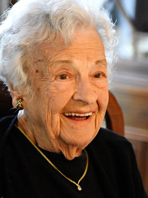Red Lion Area Senior High School Leo Club Hall of Fame inductee Gladys Harrold, 97, currently living in Jefferson, Texas, is interviewed about her lifetime of accomplishments in Spry Thursday, Sept. 15, 2016. Dawn J. Sagert photo