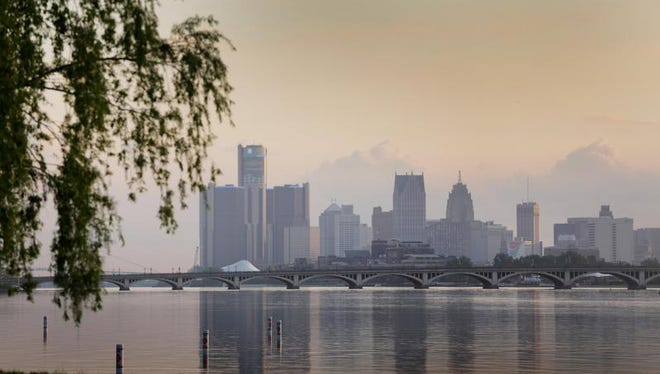 The Detroit skyline viewed from Belle Isle.