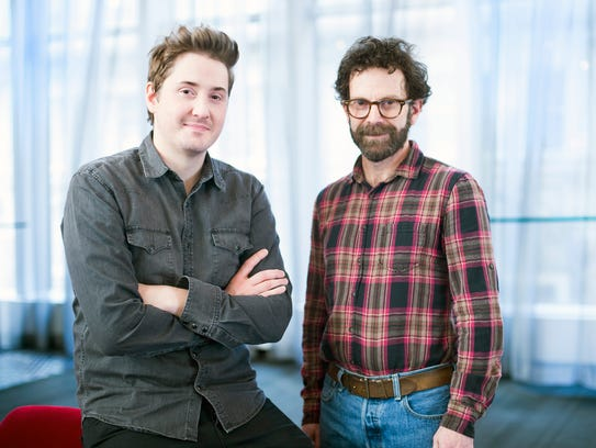 Directors Duke Johnson, left, and Charlie Kaufman pose