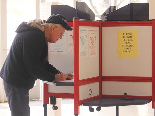 Don Thorp voted on Tuesday morning at the Tays Special Events Center on New Mexico State University-Alamogordo campus. Thorp, who was a teacher for almost 50 years, said he was happy to vote and support APS.