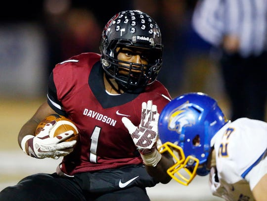 Davidson Academy running back Da'joun Hewitt (1) has committed to Purdue.