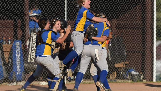 Maysville celebrates after knocking off Tri-Valley in the Division II district semifinals at John Glenn. The Panthers have won 11 of their last 15 games en route to their fourth straight regional tournament.