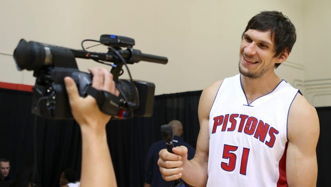 Sep 26, 2016; Detroit, MI, USA; Pistons center Boban Marjanovic smiles for a video during media day at the Pistons Practice Facility.