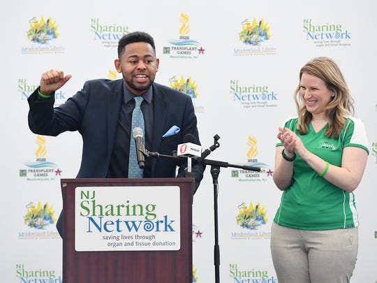 Keath Gerald of Plainfield, a heart and liver transplant recipient, speaks on Tuesday, Feb. 27, 2018, during a press conference announcing that the Meadowlands community will host the Donate Life Transplant Games in 2020.