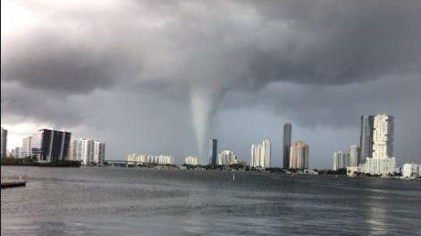 Waterspout near Miami on Aug. 19, 2020. Photo taken by Katie Flowers @elsmokflow