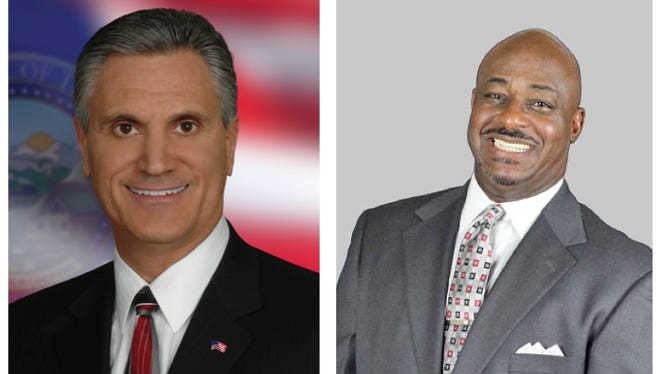 Commissioner Vaughn Hartung, left, and his challenger Maurice Washington are running for District 4 on the Washoe County Commission.