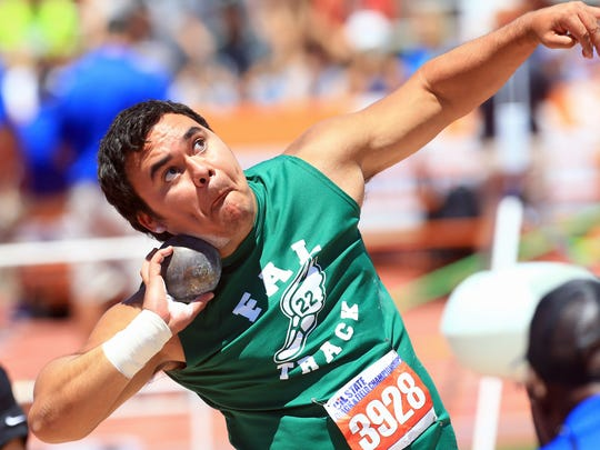 Falfurrias' Marco Arevalo competes in the 3A boys shot put during the UIL State Track & Field Championships on Friday, May, 12, 2017, at Mike A. Myers Stadium in Austin.