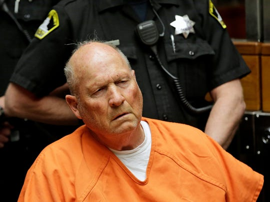 Joseph James DeAngelo,  who authorities suspect is the so-called Golden State Killer responsible for at least a dozen murders and 50 rapes in the 1970s and 1980s, is arraigned April 27, 2018, in Sacramento County Superior Court.