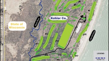 A map of the proposed Kohler golf course in the Town of Wilson shows access to the park coming through an area to the south and west.