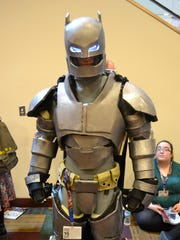 Jeremy Bless shows off his Armored Batman costume at Gen Con 2016.